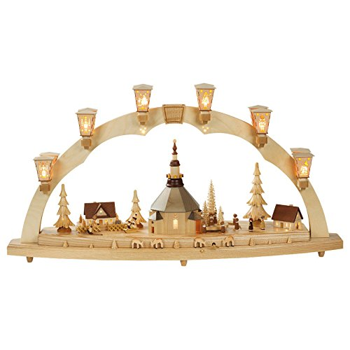 ISDD German candle arch Village of Seiffen, length 80 cm/32 inch, natural, electrically illuminated, with music box, original Erzgebirge by Richard Glaesser - Richard Natural Wood Glaesser