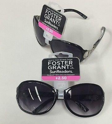 (2-Pack) Foster Grant Sun Readers +2.50 100% UVA-UVB Latte Black - Sun Reader