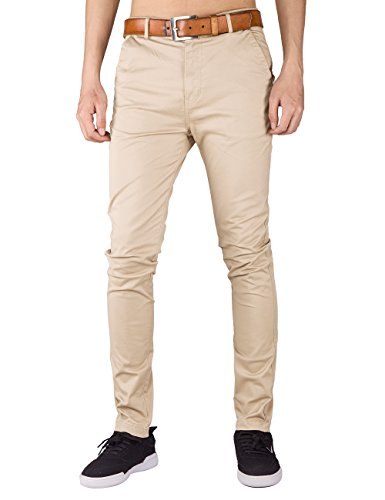 ITALY MORN Mens Flat Front Chinos Casual Khaki Pant Slim Slacks Stretch 10 Colors (M, Cream (Mens Skinny Pants)