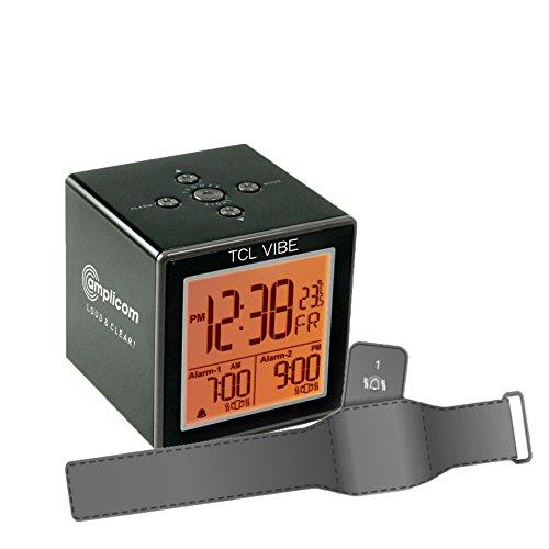 Amplicom TCL Vibe Alarm Clock, Small, Black (Boom Sonic Alarm Clock)
