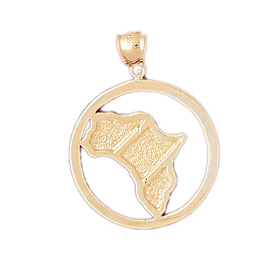 14K Yellow Gold Africa Pendant Necklace - 31 mm by NecklaceObsession
