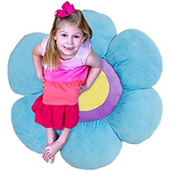 Floor Bloom Soft and Cozy Flower Floor Pillow for Kids (Blue, Large - Magic Garden Collection)