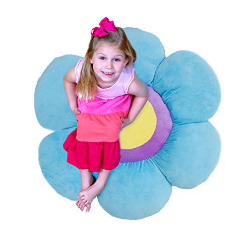 Soft Blue Flower (Floor Bloom Soft and Cozy Flower Floor Pillow for Kids (Blue, Large - Magic Garden Collection))