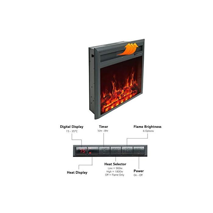 41FWGyLF9KL CONTROL REMOTO INFRARROJO con FUNCIÓN DE TEMPORIZADOR: lo mantiene cómodo y cómodo sin esfuerzo. El calor sopla desde la ventilación frontal que deja el calentador frío al tacto. LLAMA REALIZADA Y REGISTRO ARDIENTE - LED de bajo consumo añade un ambiente cálido y acogedor a cualquier habitación con o sin calor - Incluye niveles de brillo ajustables TERMOSTATO DIGITAL: con ajustes de calor alto y bajo más control de temperatura variable de 15°C a 30°C para una comodidad total