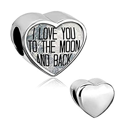 CharmSStory Heart I Love You To The Moon and Back Charm Jewelry Photo Beads For Bracelets