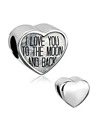 I Love You To The Moon and Back Heart Silver Plated Photo Beads For Charm Bracelet