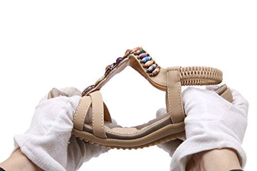 Moda Bohemia XIAOQI Zapatillas Verano Marrón Exterior Cuentas Mujeres Albornoces Sandalias Nuevas Sandalias de Sandalias Antideslizantes de y de Interior de Las wq7Sfpf