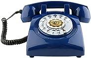 Teléfonos de marcación rotativa Sangyn 1960 Classic Old Style Retro Teléfono fijo de escritorio (azul oscuro)