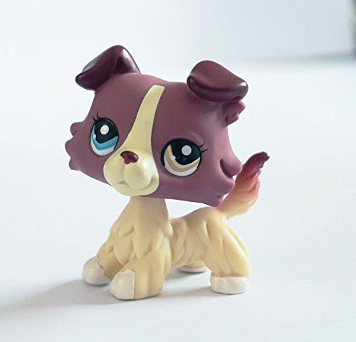 Littlest Pet Shop LPS #1262 2 Different Color Eyes Toys Plum Cream Collie Dog
