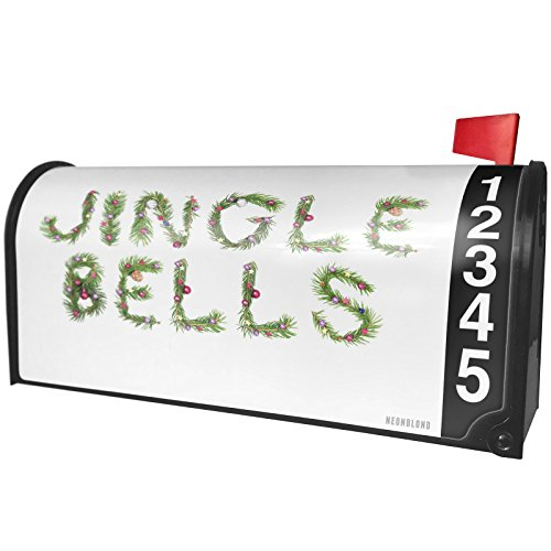 NEONBLOND Jingle Bells Christmas Tree Branch Magnetic Mailbox Cover Custom Numbers