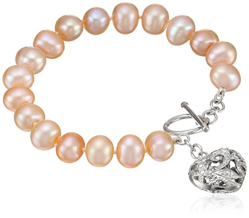 Bella Pearl Pink Heart Toggle Bracelet, (Pearl Strand Heart Bracelet)