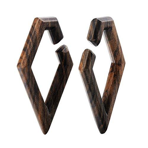 2PCS Rhombus Wood Wooden Ear Gauges Flesh Tunnels Plugs Stretchers Expander 0g-5/8