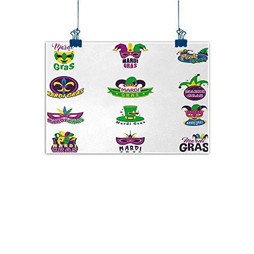 Simple Life Minimalist Mardi Gras,Set of Carnival Masks Hats and Fleur De Lis Symbols Colorful Joyous Collection,Multicolor 20