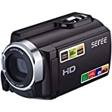 SEREE FHD 1080P Camcorders WIFI Connection 60FPS Dual SD Slot Night Vision External Battery 20MP 16X Digital Zoom 3 Inch Touch Screen Camera (HDV-501)