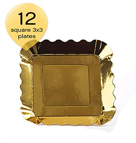 Simply Baked Small Paper Appetizer Plate, Metallic Gold, 12-Pack, 3-inch Square