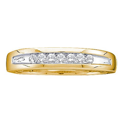 Two Tone Channel Set (14kt Yellow Gold Mens Round Channel-set Diamond Two-tone Single Row Wedding Band 1/4 Cttw)