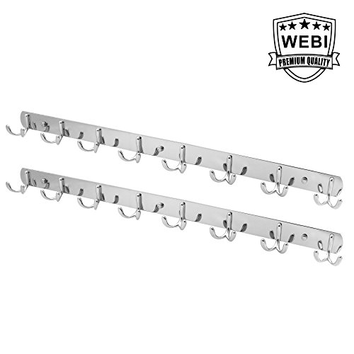 2 Packs, WEBI Heavy Duty Dual Hook Coat Towel Hanger Holder Rack Rail With Double Prong Hooks Bathroom Bedroom Kitchen Office Entryway Organization Storage Wall Mounted, Aluminum alloy -