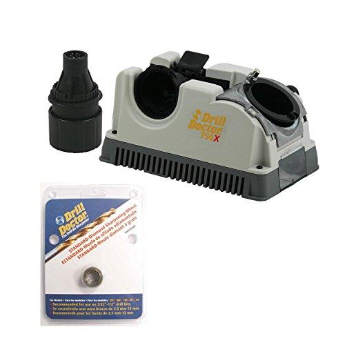 Doctor Drill Sharpener (Drill Doctor DD750X Drill Bit Sharpener with Case, and DA31320GF Diamond Wheel)