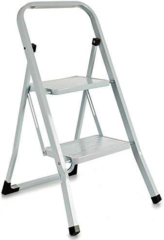TU TENDENCIA ÚNICA Escalera metálica blanca plegable con peldaños anchos, con apoyabrazos. Tacos antideslizantes. Capacidad de carga 150kg (2 peldaños): Amazon.es: Bricolaje y herramientas