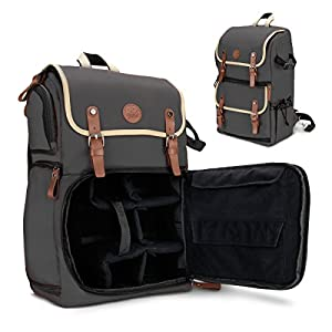 GOgroove DSLR Camera Backpack Case (Grey) for Photography and Laptop Travel Use with Accessory Storage Room , Tripod Holder and Weatherproof Rain Cover for Sony a6000 , Canon EOS T6 , Nikon D5500