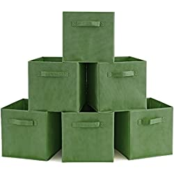 Set of 6 Basket Bins- EZOWare Collapsible Storage Organizer Boxes Cube for Nursery Home - Kale Green