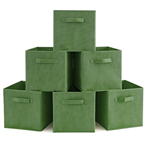Set of 6 Basket Bins- EZOWare Collapsible Storage Organizer Boxes Cube For Nursery Home - Kale (Non Woven Bottle)