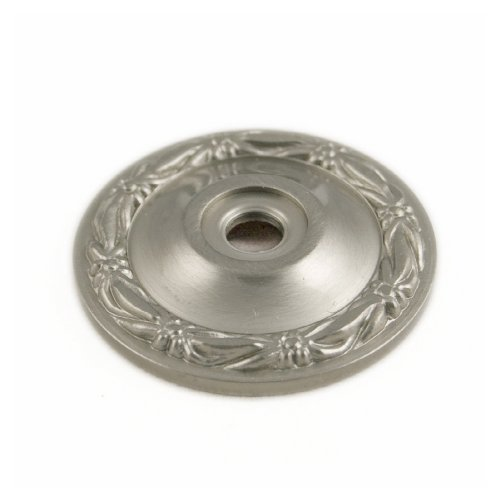 (RK International RKI R.K. International BP 489 P Flat Deco-Leaf Knob Backplate, Satin Nickel (Pewter),)