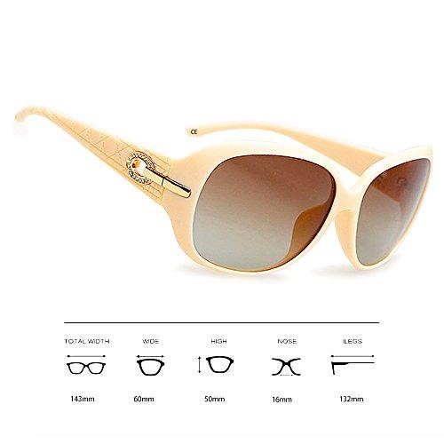 Moda Protección de Gafas Mujeres Sol BVAGSS para Polarizadas WS045 Beige UV Y1wq0RU