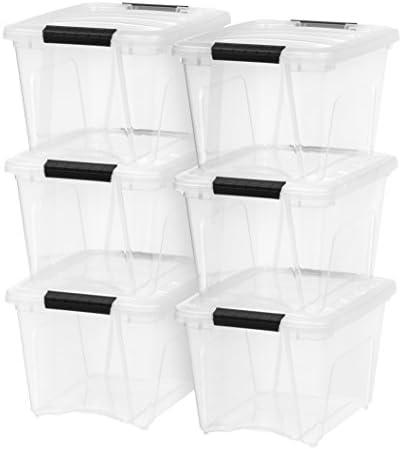 IRIS USA TB-17 Stack & Pull Box, 19 Quart, Clear, 6 Pack