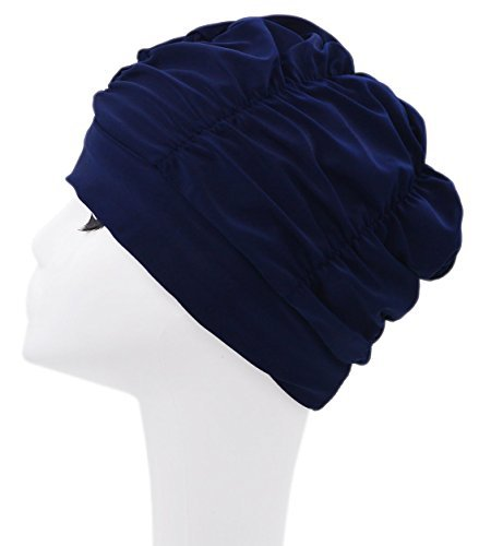 YASIDI Swimming Caps Long Hair Swim Cap Pleated Cloth Fabric Bathing Hats...