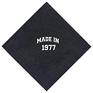 """40th Birthday Gifts Made 1977 40th Birthday Gifts 50 Pack 5x5"""" Party Napkins Cocktail Napkins Black"""