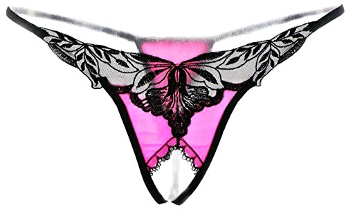 Ochiria HOT Lace Sexy Lingerie For Women For Sex Crotchless G String3 Panty Thong ,Pink,One size (Lingerie Crotchless Panties)