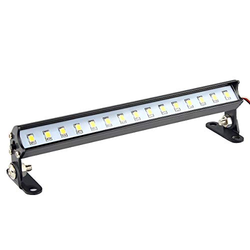 HOSIM RC LED Lights Bar,15 LED Lamp 139mm Roof Light Bar Aluminum for 1/8 1/10 RC Cars Trucks,Axial Yeti SCX10 AX10 CC01 RC4WD D90,Traxxas Slash 4X4,TRX-4,X-Maxx (Black) -