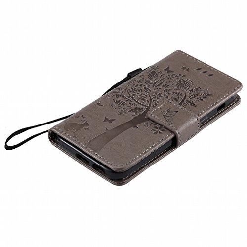 Yiizy Samsung Galaxy A3 (2017) / A320F/FL / A320Y Funda, árbol De Dibujo Diseño Solapa Flip Billetera Carcasa Tapa Estuches Premium PU Cuero Cover Cáscara Bumper Protector Slim Piel Shell Case Stand R