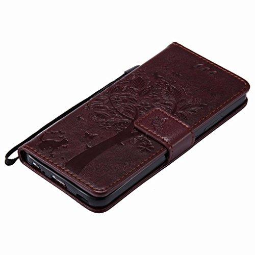 Yiizy Huawei P10 Custodia Cover, Alberi Disegno Design Sottile Flip Portafoglio PU Pelle Cuoio Copertura Shell Case Slot Schede Cavalletto Stile Libro Bumper Protettivo Borsa (Marrone)