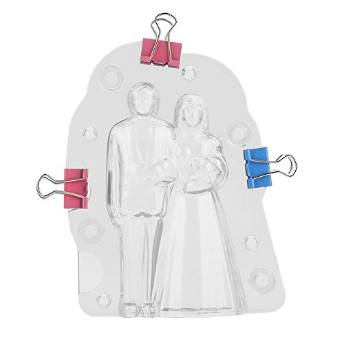 Bride & Groom Chocolate Candy Mold Handmade Plastic 3D Cake Wedding Candy Molding Tool with 3pcs Clamps Bride And Groom Candy Molds