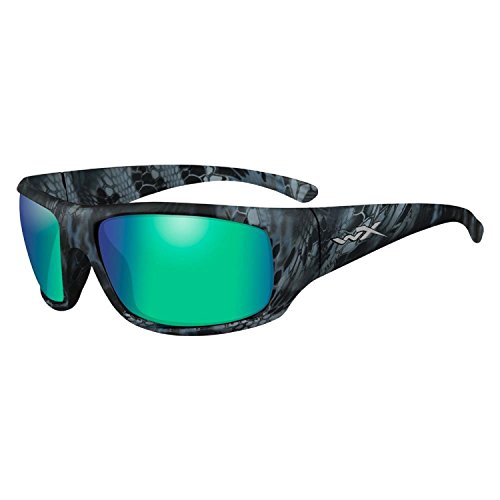 Wiley X ACOME12 Omega Sunglasses Polarized Emerald Mirror Lens, Black by Wiley X