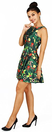 Pleated for Print Bright Party Tree Dress Jescakoo Skater Tank Christmas Christmas Costume 7CESq