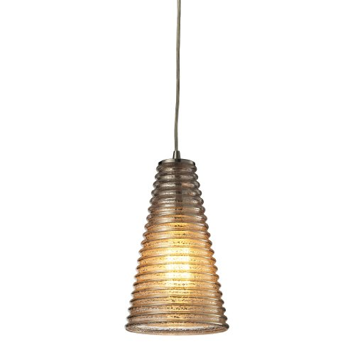 Elk Lighting 10333/1 Ribbed Glass Collection 1 Light Mini Pendant, Satin Nickel