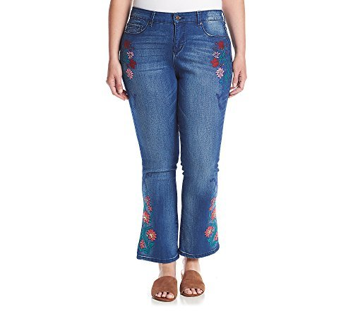 Vintage America Blues Women's Plus Size Wonderland Micro Boot Jean, Rising/Floral Embroidery, 20W