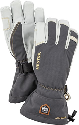 - Hestra Waterproof Ski Gloves: Mens and Womens Army Leather Gore-Tex Cold Weather Gloves, Grey, 8