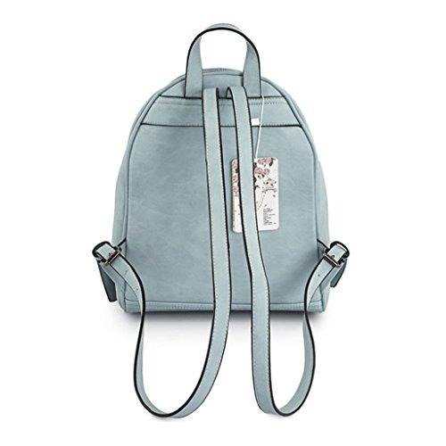 Mochila para mujer de las muchachas de las señoras el campus simple lindo de la manera de las muchachas CollegeShopping ocio marea salvaje Meng bolso del morral de la PU (azul) (26 * 11 * 33cm)