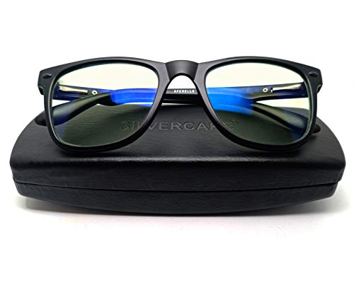 AFERELLE® Silvercare Premium Blue Ray Cut Blue Light Filter Computer Glasses With Antiglare for Eye protection And Also Specialized Lens For Night Driving (Zero Power,Blue Coated)