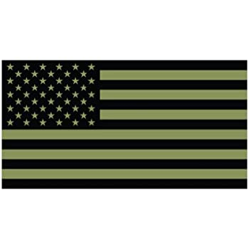 4 subdued od green american flag color sticker decal die cut