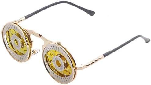 Mens Womens 80's Boho Chic Gothic Steampunk Sidestreet Flip-up Round Mirror Lens Metal Frame Sunglasses Goggles