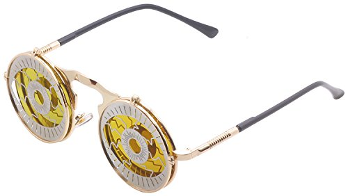 Mens Womens 80's Boho Chic Gothic Steampunk Sidestreet Electric Eye Flip-up Round Mirror Orange Lens Metal Frame Sunglasses Goggles