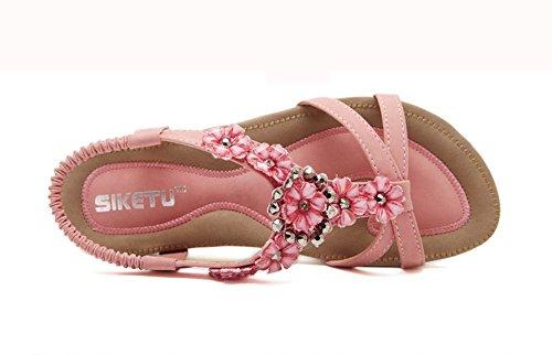 Chfso Femmes Boho Fleurs Rivets Cheville Sangle Sandales Plates Appartements Chaussures Rose