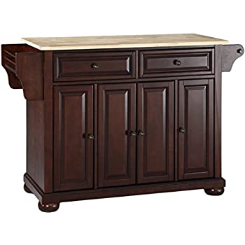 Lovely Crosley Furniture Alexandria Kitchen Island With Natural Wood Top   Vintage  Mahogany