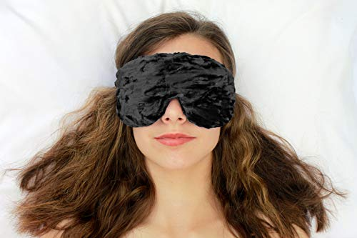 Weighted Sleep Eye Mask Pillow Handmade by Candi Andi - Adjustable Strap - Travel - Flax Seed Fill - Microwavable - Crushed Velvet - Unscented or Lavender Scented - Black - TEMVF-BK -