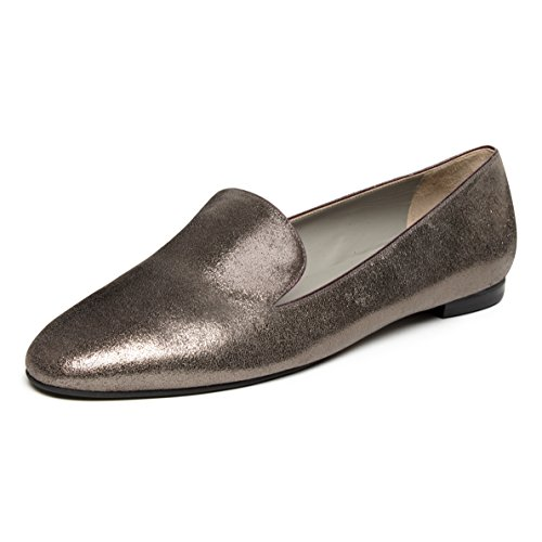 pearl nappa with kid flats Grey trim leather grey loafer 6qX1P5d